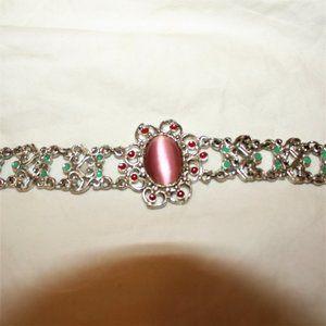 Vintage Silver Enamel Pink Stone Bracelet